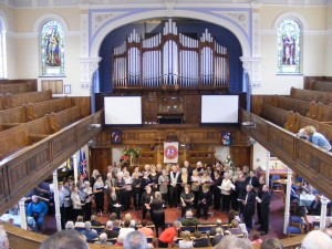Choir performing in Toll Gavel Methodist Church during Beverley Christmas festival 8th Dec 2013 - Photograph courtesy N Clarke